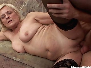 Blonde Granny In Stockings Hammered By Youthfull Manmeat