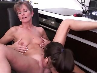 Matures Mom Licks And Fucks Daughter-in-law At Kitchen