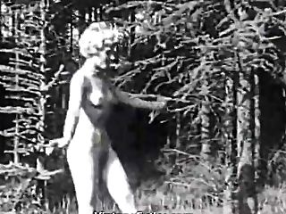 Two Naked Naturist Gals Playing Ball (1940s Antique)