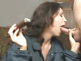Dark-haired Cougar Charlee Chase Smokes Cigar & Bangs A Big Dick!