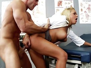 Total Figured Blonde Nurse Gets Hammered By Patient In Office