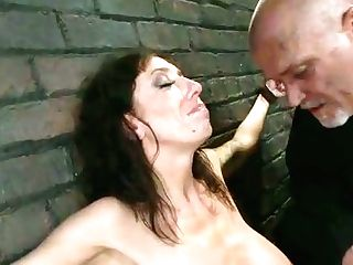 Supah Huge-titted Brown-haired Mummy Gets Her Puffies Pinned With Metal Stuff