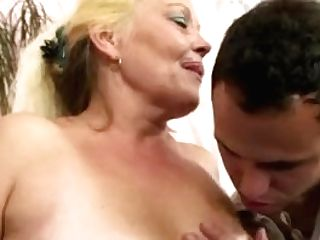 Blonde Spreads Her Hairy Old Cunny For Him